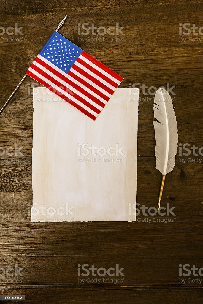 United States flag, blank letter and quill pen royalty-free stock photo