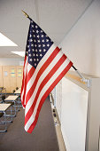 United States flag in high school classroom