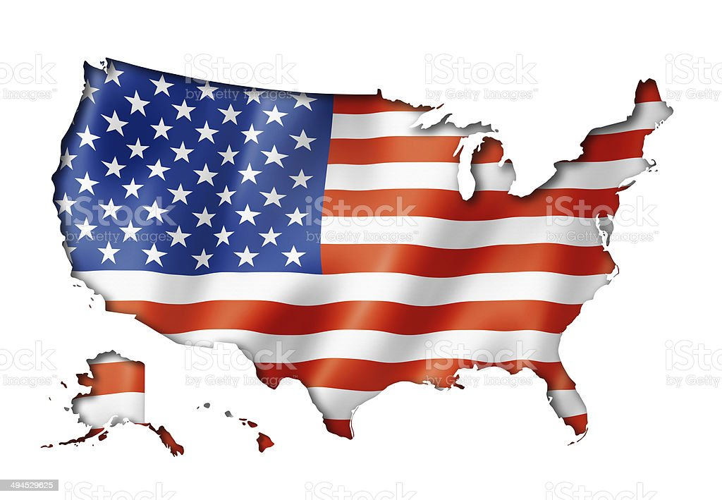 United States flag map stock photo