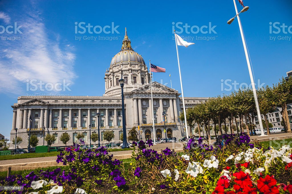United States flag on San Francisco City Hall stock photo