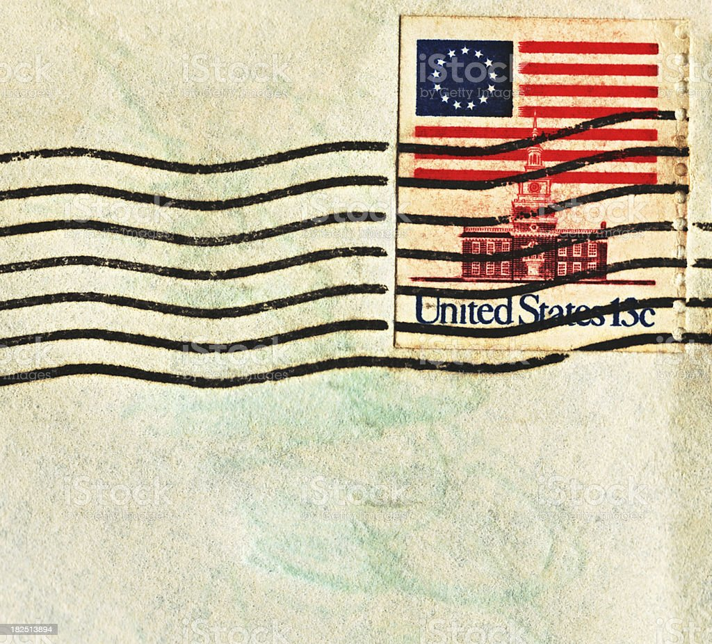 United States Flag Postage Stamp with Thirteen Stars royalty-free stock photo