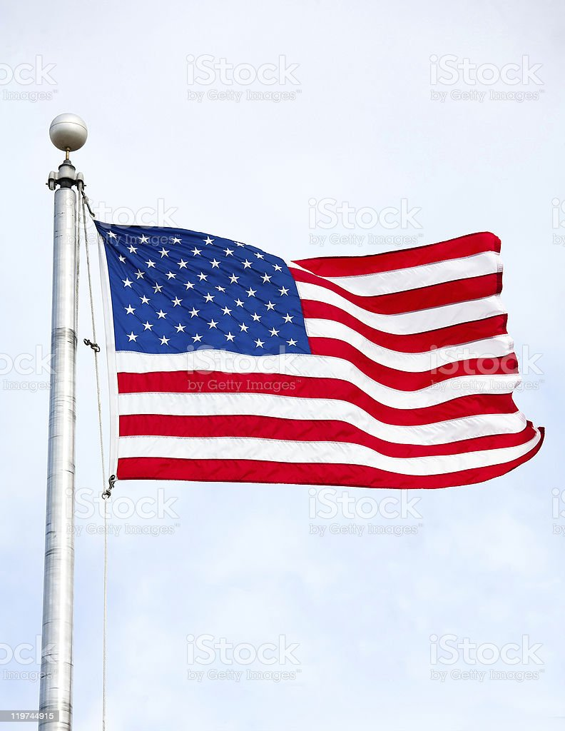 United States Flag Waving In Wind royalty-free stock photo