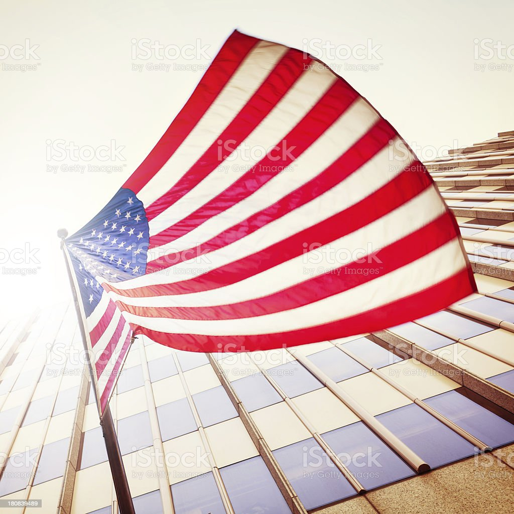 United States Flag Waving in Wind stock photo