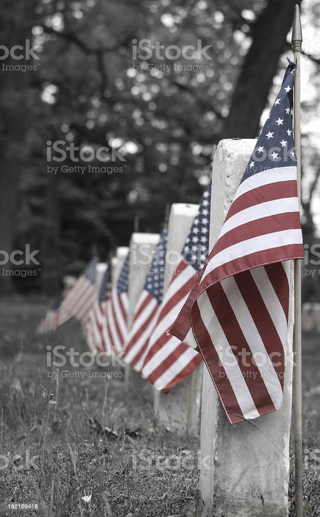 United States Flags at Graves in Remembrance: Memorial Day royalty-free stock photo