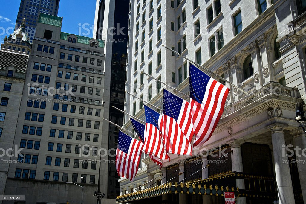 United States Flags at Half Staff, Midtown Manhattan, NYC stock photo