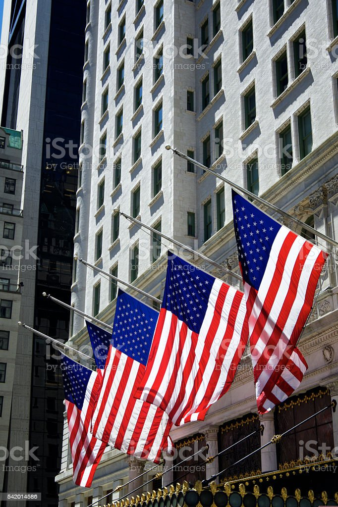 United States Flags at Half-Staff, Midtown Manhattan, NYC stock photo