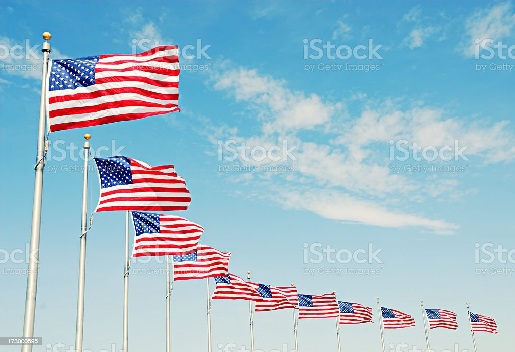 United States flags on poles in a row with sky background stock photo