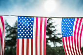United States flags pennant on the courtyard