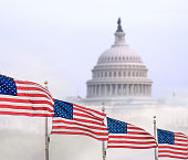 United States flags with Capitol building in Washington, DC