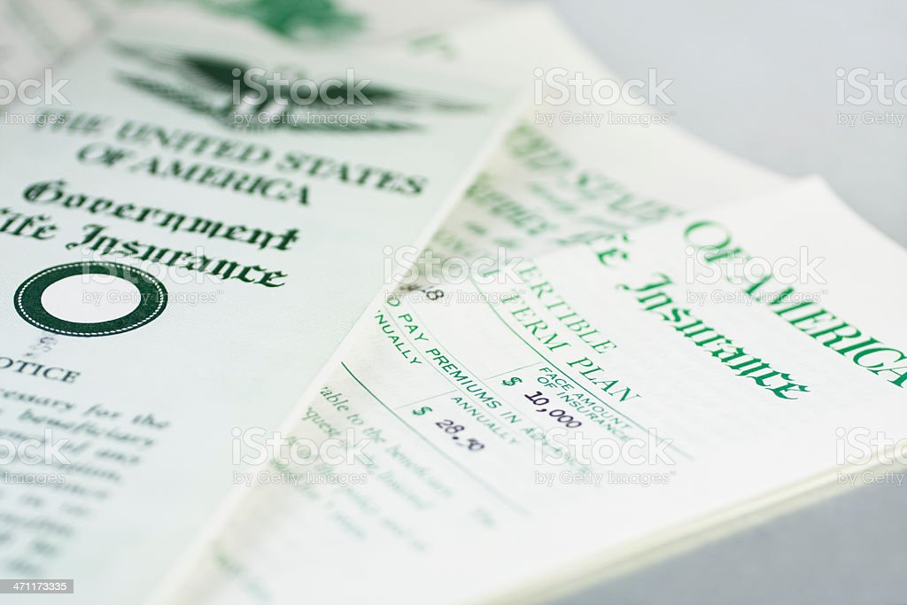 United States Government Life Insurance Plan Document stock photo