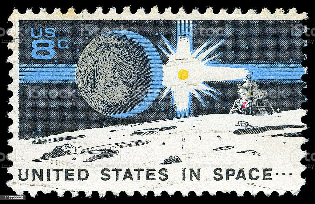 United States in Space commemorative stamp stock photo