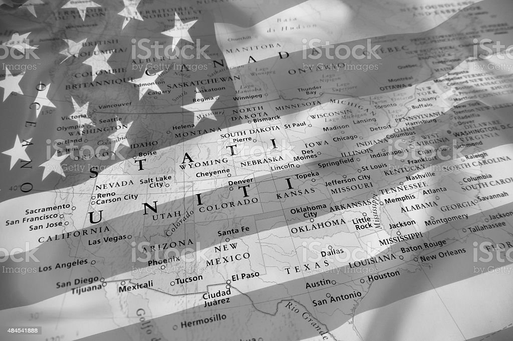 United States map, black and white effect. stock photo