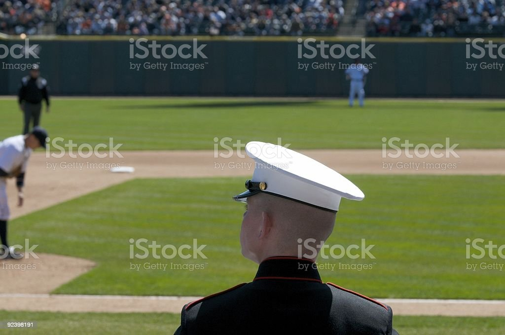 United States Marine @ Baseball Game stock photo