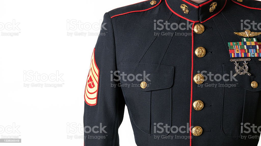 United States Marine Corps Dress Blues Uniform stock photo