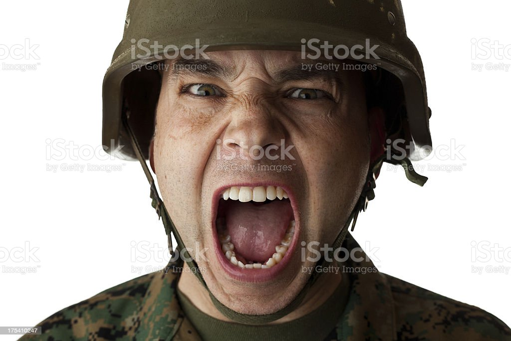 United States Marine Screaming stock photo