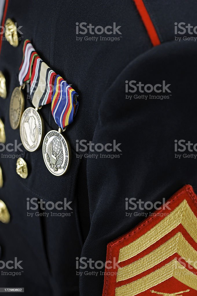 United States Marine Uniform Blouse with Medals royalty-free stock photo