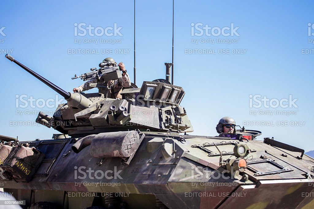 United States Marines military tank with soldiers on board stock photo