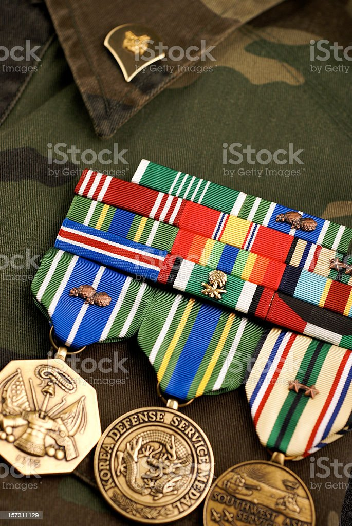 United States Medals on Camouflage Uniform stock photo