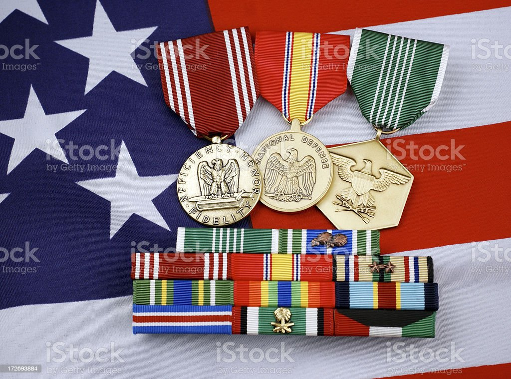 United States Military Medals and Ribbons royalty-free stock photo