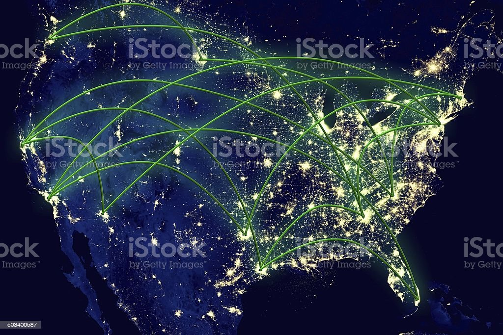 United States Network Map stock photo