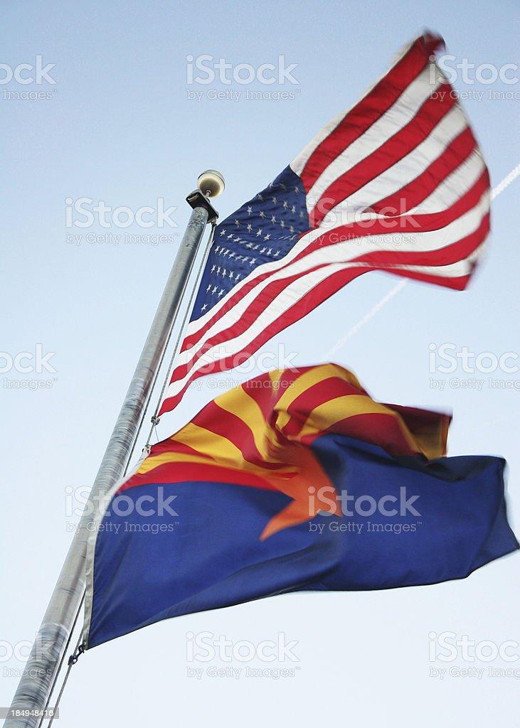 United States of America and Arizona Flag stock photo