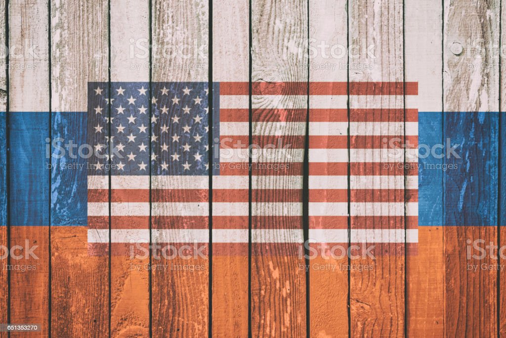 United States of America and Russia Political Concept Image stock photo