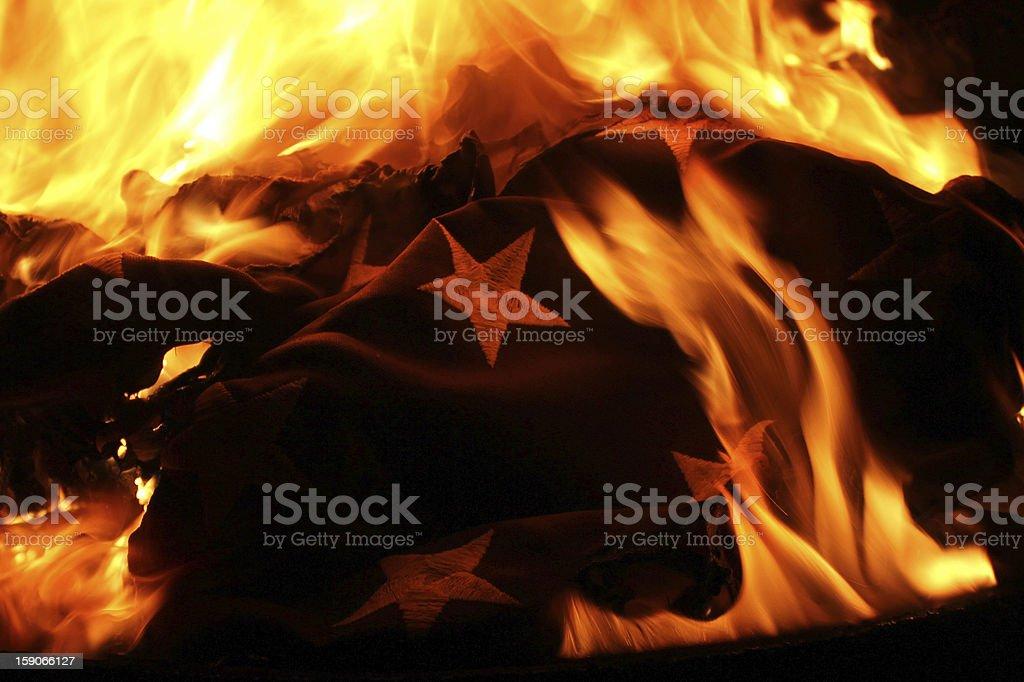 United States of America Flag burning in retirement ceremony stock photo