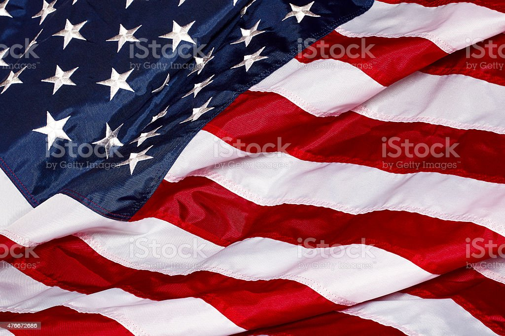 United States Of America Flag Waving in Wind and Sunlight stock photo