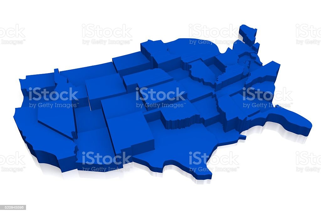 3D United States of America (USA) map stock photo