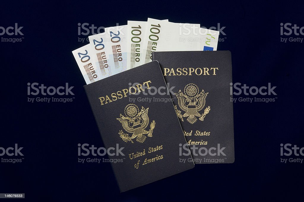 United States of America Passports and Euros ready for travel royalty-free stock photo