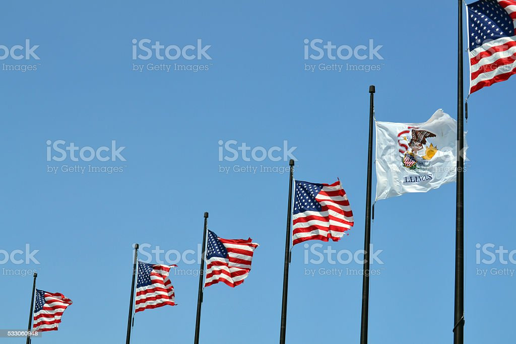 United States of American and Illinois State Flag stock photo