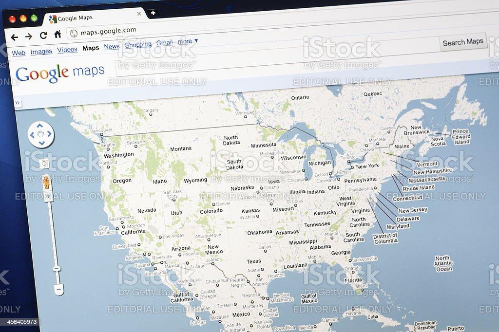 United States on Google Maps royalty-free stock photo