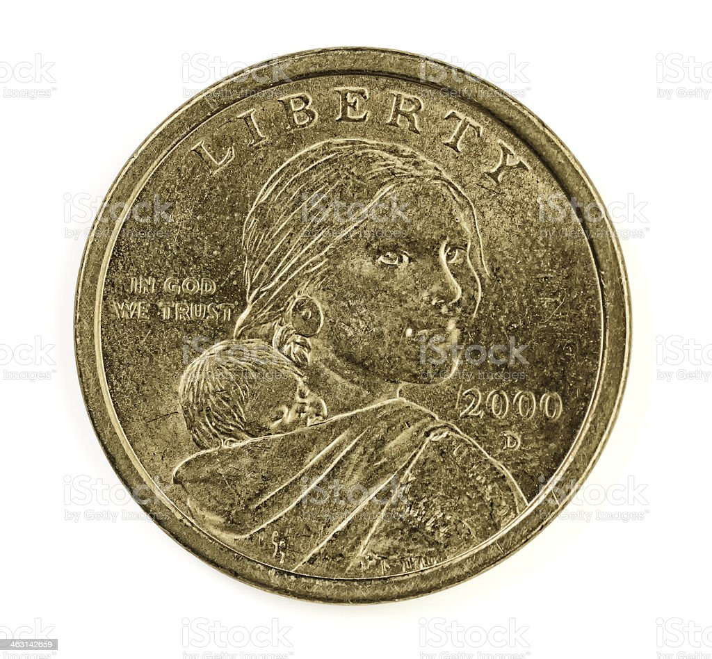 United States one dollar golden coin stock photo