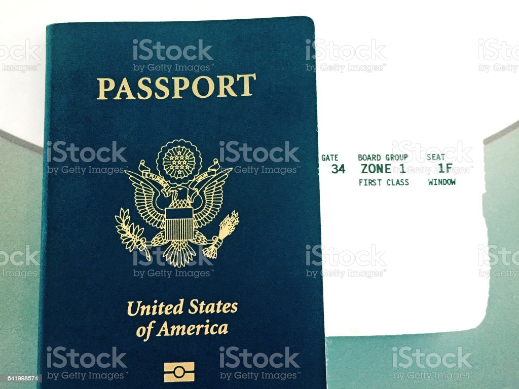 United States Passport and Boarding Pass stock photo