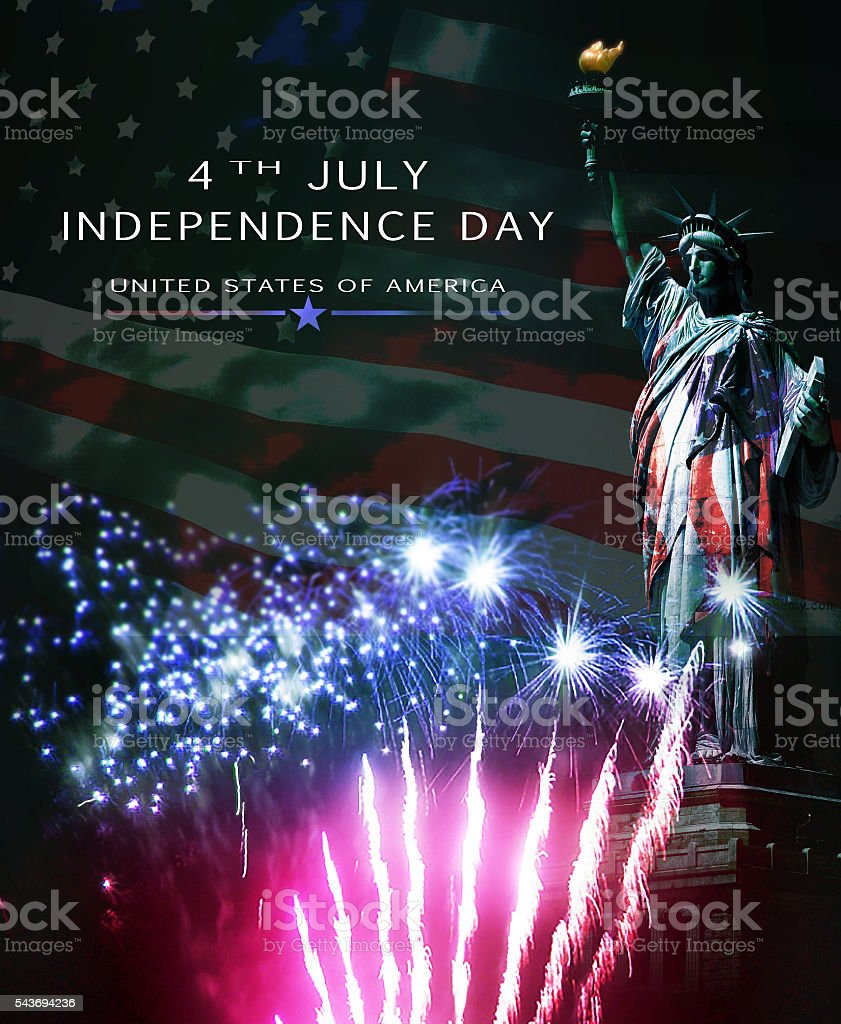 United States patriotic poster, Old Glory and Liberty stock photo