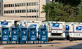 United States Post Office and Mail Trucks