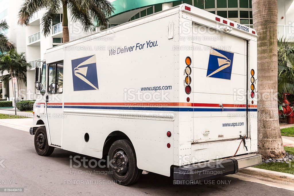 United States Post Office mail truck stock photo