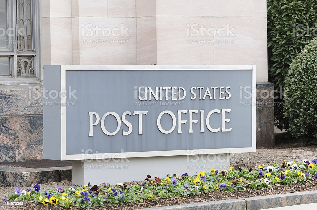 United States Post Office sign stock photo