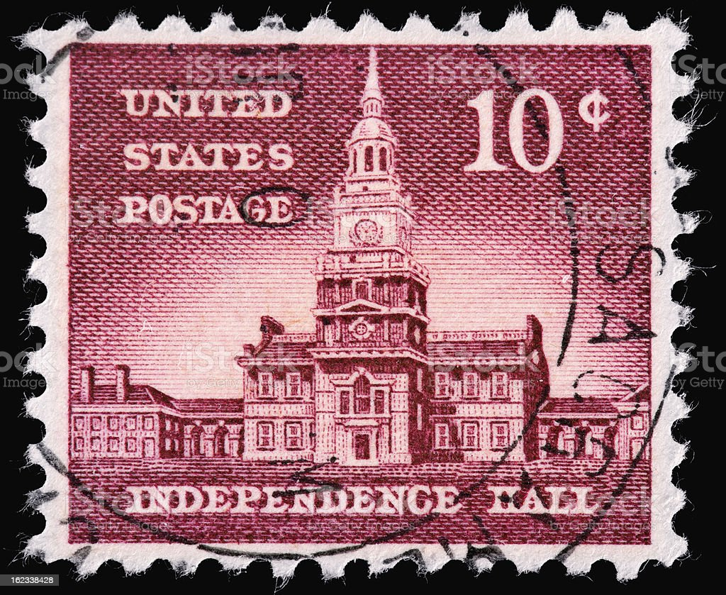 United States Postage Stamp Depicting Independence Hall royalty-free stock photo