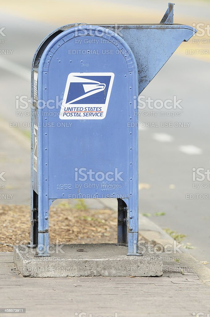 United States Postal Service mailbox on street stock photo