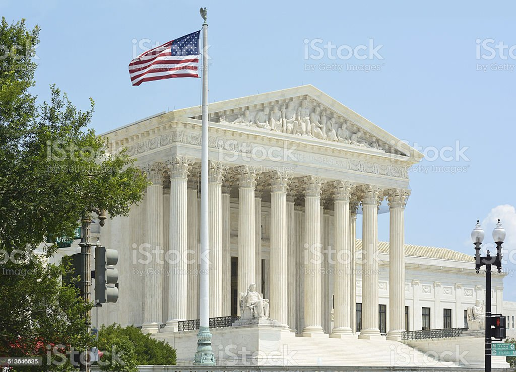 United States Supreme Court with Flag stock photo