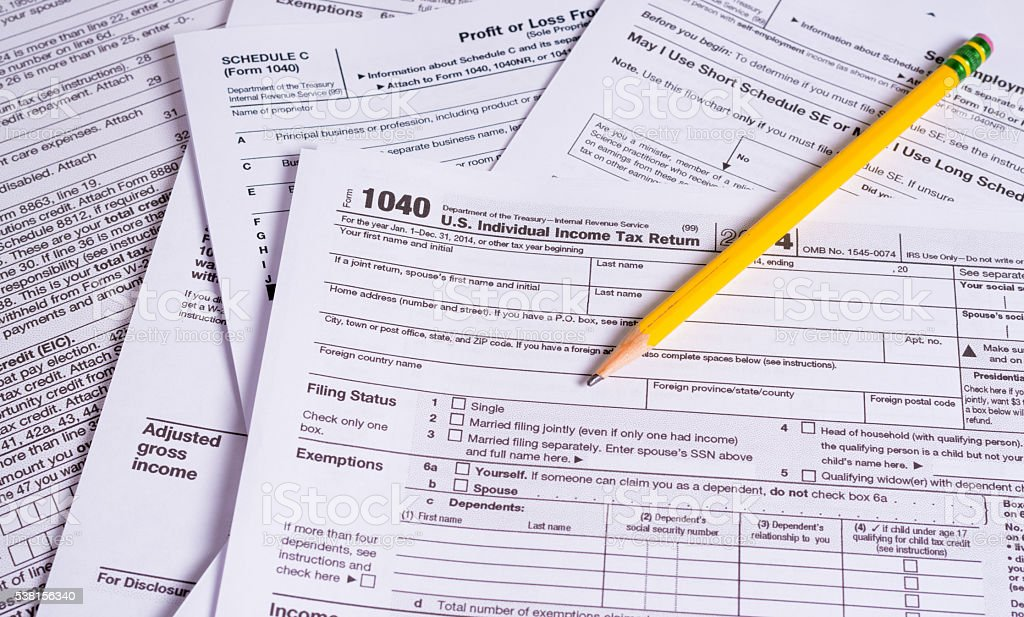 United States Tax Forms with a pencil stock photo