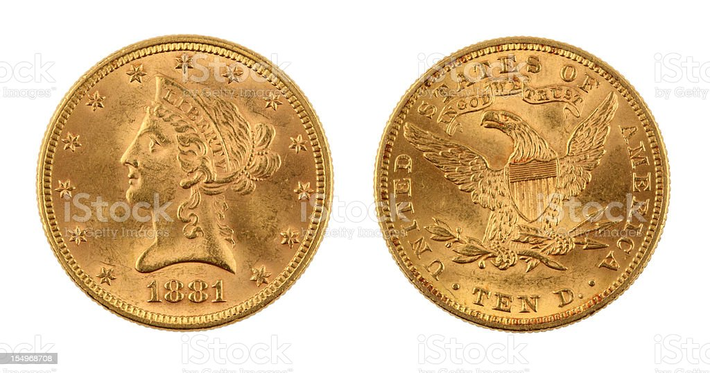 United States Ten Dollar Gold Coin stock photo