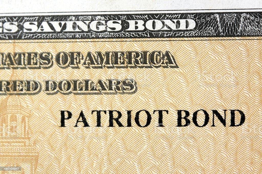 United States Treasury Patriot Bonds stock photo