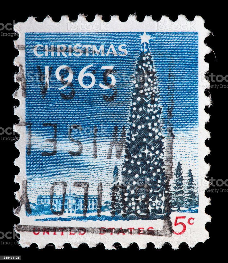 United States used postage stamp showing a Christmas tree stock photo
