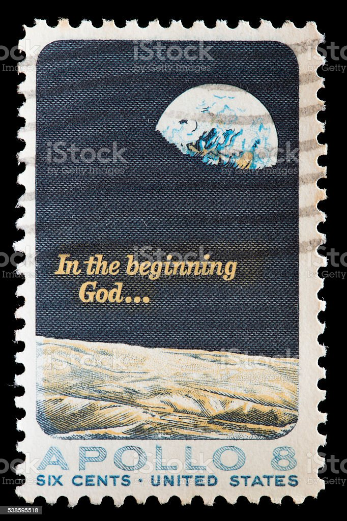 United States used postage stamp showing Earth from Apolllo 8 stock photo