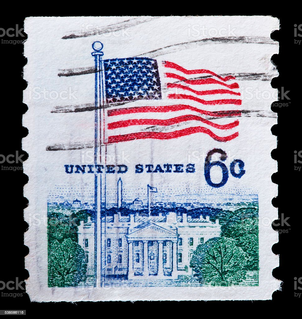 United States used postage stamp showing flag on fort McHenry stock photo