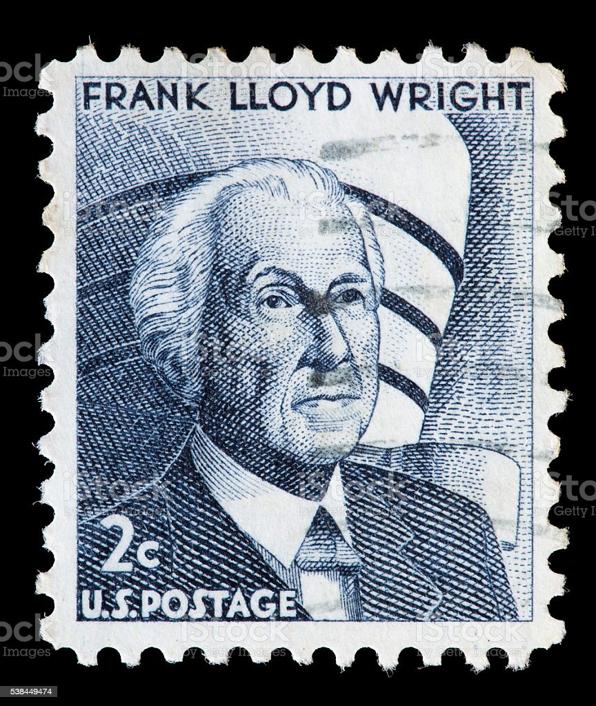 United States used postage stamp showing Frank Lloyd Wright stock photo