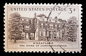 United States used postage stamp showing home of James Buchanan