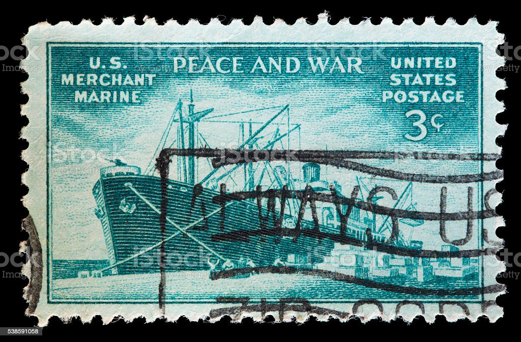 United States used postage stamp showing merchant marine freighter stock photo
